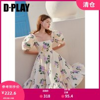Dress Summer 2020 Yellow printing S M L XL Middle-skirt singleton  Sleeveless commute square neck High waist Dot other Cake skirt puff sleeve Others 25-29 years old Type A DPLAY Retro printing DC0205425Y More than 95% polyester fiber Polyester 100% Pure e-commerce (online only)