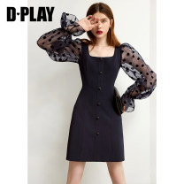 Dress Autumn 2020 Navy blue dress in stock S M L XL Middle-skirt singleton  Long sleeves square neck High waist other A-line skirt pagoda sleeve 25-29 years old Type A DPLAY DB0305807 91% (inclusive) - 95% (inclusive) other polyester fiber Polyester 92.3% polyurethane elastic fiber (spandex) 7.7%