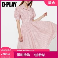 Dress Summer of 2019 Grey Pink Stripe the second batch of Grey Pink Stripe S M L XL Middle-skirt singleton  Short sleeve street other High waist other other A-line skirt puff sleeve Others 25-29 years old Type A DPLAY printing D9205225 More than 95% other cotton Europe and America