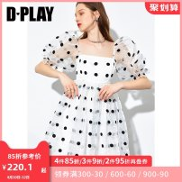 Dress Spring 2021 S M L XL Short skirt singleton  Short sleeve street square neck High waist Dot zipper other puff sleeve Others 25-29 years old Type X DPLAY Embroidery More than 95% other other Other 100% Pure e-commerce (online only) Europe and America