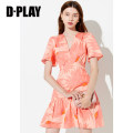 Dress Summer 2020 S M L XL Short skirt singleton  Short sleeve commute V-neck High waist Big flower other Ruffle Skirt routine 25-29 years old Type X DPLAY Simplicity Ruffle print More than 95% other polyester fiber Polyester 100% Pure e-commerce (online only)