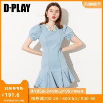 Dress Summer 2020 Denim blue S M L XL Short skirt singleton  Short sleeve commute other High waist Solid color other Ruffle Skirt puff sleeve Others 25-29 years old Type X DPLAY lady Nail bead 71% (inclusive) - 80% (inclusive) cotton Pure e-commerce (online only)