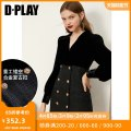 Dress Winter 2020 Black - stock S M L XL Short skirt singleton  Long sleeves V-neck High waist other double-breasted puff sleeve 25-29 years old Type A DPLAY DB0405051 91% (inclusive) - 95% (inclusive) polyester fiber Polyester 92.4% polyurethane elastic fiber (spandex) 7.6%