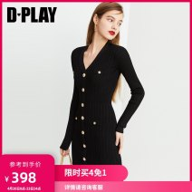 Dress Spring 2020 S M L XL Mid length dress singleton  Long sleeves street V-neck High waist other routine 25-29 years old Type H DPLAY Button 31% (inclusive) - 50% (inclusive) nylon Pure e-commerce (online only) Europe and America