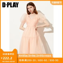 Dress Summer 2020 Orange powder - take delivery around April 27 S M L XL longuette singleton  Short sleeve Sweet V-neck High waist Solid color other Big swing puff sleeve Others 25-29 years old Type A DPLAY DC0205403 More than 95% organza  polyester fiber Polyester 100% princess