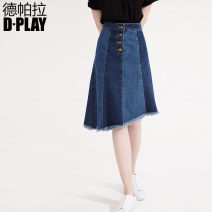 skirt Summer 2017 S M L XL Denim blue Middle-skirt High waist A-line skirt Solid color Type A 25-29 years old 91% (inclusive) - 95% (inclusive) DPLAY cotton Cotton 93% polyurethane elastic fiber (spandex) 7% Pure e-commerce (online only)