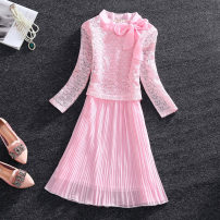 Dress Spring 2016 Black, light green, pink S,M,L Middle-skirt singleton  three quarter sleeve commute Crew neck middle-waisted Solid color zipper Princess Dress routine Others 18-24 years old T-type lady Bowknot, stitching, zipper, lace 588# 81% (inclusive) - 90% (inclusive) Chiffon other