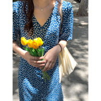 Dress Spring 2021 Malachite blue S,M,L Mid length dress singleton  Short sleeve commute V-neck High waist Broken flowers Single breasted A-line skirt routine Type X Korean version More than 95% Chiffon polyester fiber