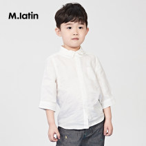 T-shirt Benbai M. Latin / maladin 110cm 120cm 130cm 140cm 150cm 160cm male summer three quarter sleeve Lapel and pointed collar leisure time There are models in the real shooting other Solid color Ramie 100% Class B