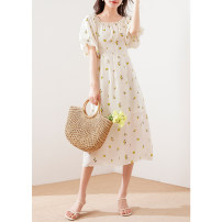 Dress Spring 2021 White background wave point, white background black flower, beige yellow flower S,M,L longuette singleton  Short sleeve commute One word collar High waist Broken flowers Socket other puff sleeve Others Type X MIJOR Simplicity Zipper, split A341147 More than 95% silk