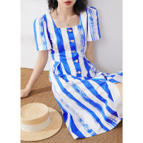Dress Summer 2020 Blue and white stripes S,M,L Mid length dress singleton  Short sleeve commute square neck High waist stripe Single breasted puff sleeve Others Type X MIJOR Ol style Button, zipper M1152 More than 95% cotton