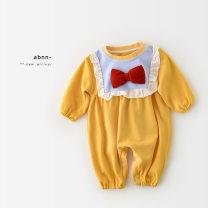 Jumpsuit / climbing suit / Khaki A Bao girl Class A female yellow 66 cm,73 cm,80 cm,90 cm cotton spring and autumn Long sleeves Long climb princess Freshmen, 3 months, 6 months, 12 months, 18 months, 2 years old, 3 years old, 9 months old Chinese Mainland