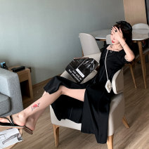 Dress Spring 2021 black S,M,L Mid length dress singleton  Short sleeve commute square neck High waist Solid color Socket A-line skirt puff sleeve Others Type A Rain Road Korean version Splicing ZDD2645 31% (inclusive) - 50% (inclusive) Chiffon polyester fiber