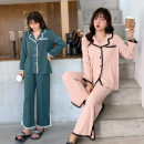 Pajamas / housewear set female Other / other XL - recommended 130-150 kg, 2XL - recommended 150-170 kg, 3XL - recommended 170-190 kg, 4XL - recommended 190-240 kg Dark green, skin pink Polyester (polyester) Long sleeves Sweet Leisure home autumn Thin money Small lapel Solid color trousers youth other