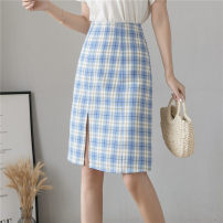 skirt Summer 2021 S,M,L,XL Green, blue Middle-skirt commute High waist skirt lattice Type H 25-29 years old 30% and below other other zipper Retro 40g / m ^ 2 and below