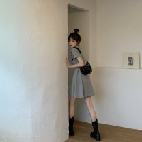 Dress Summer 2021 Gray, black Average size Short skirt singleton  Short sleeve commute Crew neck High waist Solid color Socket A-line skirt routine Others 18-24 years old Type A ethnic style Button 31% (inclusive) - 50% (inclusive) other cotton