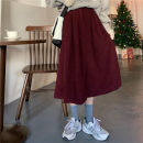 skirt Spring 2021 Average size gules longuette commute High waist A-line skirt Solid color Type A 18-24 years old 31% (inclusive) - 50% (inclusive) corduroy fold Korean version