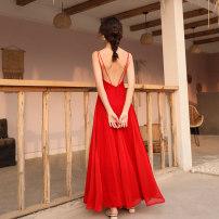 Dress Summer 2021 gules S,M,L,XL longuette singleton  Sleeveless Sweet V-neck High waist Solid color zipper A-line skirt camisole Type A More than 95% Chiffon Bohemia