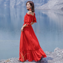 Dress Autumn of 2018 gules S,M,L,XL longuette singleton  Short sleeve Sweet One word collar High waist Solid color Socket Big swing other Breast wrapping 25-29 years old Type A FeiTing Pavilion 171002- More than 95% Chiffon Bohemia
