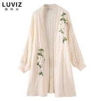 Wool knitwear Autumn of 2019 F (one size fits all) Apricot Long sleeves singleton  Cardigan acrylic fibres 51% (inclusive) - 70% (inclusive) Medium length routine commute easy V-neck bishop sleeve Plants and flowers literature K9348 25-29 years old Luviz Three dimensional decorative embroidery