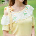 T-shirt Yellow coat S M L XL Spring of 2018 Short sleeve Slant collar Straight cylinder Regular routine commute cotton 86% (inclusive) -95% (inclusive) 18-24 years old Korean version youth Color matching Luviz Cotton 95% polyurethane elastic fiber (spandex) 5%
