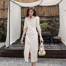 Dress Spring 2021 White, white second batch S,M,L longuette singleton  elbow sleeve commute stand collar High waist Solid color Single breasted One pace skirt routine Others 25-29 years old Type H Zhao Sanguan Retro MSG21032609 81% (inclusive) - 90% (inclusive)