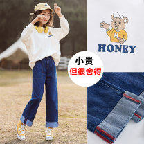 suit Yes, yes Cartoon man + denim blue biscuit white + DENIM BLUE HOODED white + denim blue 130cm 140cm 150cm 160cm 165cm 170cm female spring and autumn leisure time Long sleeve + pants 2 pieces routine There are models in the real shooting Socket nothing Solid color Cotton blended fabric children