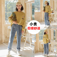 suit Yes, yes 140cm 150cm 160cm 165cm 170cm female spring and autumn leisure time Long sleeve + pants 2 pieces routine There are models in the real shooting Socket nothing Cotton blended fabric children Class B Cotton 85% polyester 15% Spring 2021