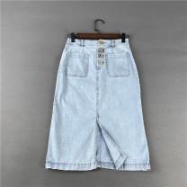 skirt Summer 2021 XS,S,M,L,XL Wash blue Mid length dress Sweet High waist