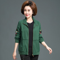 Middle aged and old women's wear Spring 2021, autumn 2021 fashion Jacket / jacket easy singleton  Solid color 40-49 years old Cardigan moderate Polo collar Medium length (length 50-70cm) routine Embroidery pure cotton 96% and above zipper