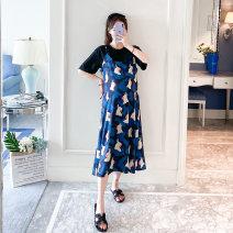Dress Other / other Black + blue M,L,XL,XXL Korean version Short sleeve Medium length summer Crew neck Animal design