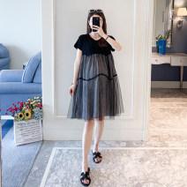 Dress Other / other black M,L,XL,XXL Korean version Short sleeve Medium length summer Crew neck lattice