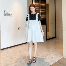 Dress Other / other Gray, black M,L,XL,XXL Korean version Short sleeve Medium length summer Crew neck Solid color cotton material