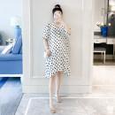 Dress Other / other White, black Average size Korean version Short sleeve Medium length summer V-neck Dot polyester