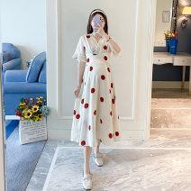 Dress Other / other White, beige M,L,XL,XXL,XXXL Korean version Short sleeve Medium length summer V-neck Dot
