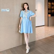 Dress Other / other wathet M,L,XL Korean version Short sleeve Medium length summer Lapel Solid color Denim cotton