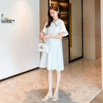 Dress Other / other White, gray M,L,XL,XXL Korean version Short sleeve Medium length summer Lapel Solid color cotton material