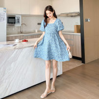 Dress Other / other White, blue M,L,XL Korean version Short sleeve Medium length summer square neck other polyester