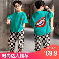 suit Other / other blue , black , white , Ginger  120cm,130cm,140cm,150cm,160cm,170cm male summer Korean version Short sleeve + pants 2 pieces Thin money There are models in the real shooting Socket nothing printing cotton children Expression of love Class B Cotton 100% Chinese Mainland Huzhou City