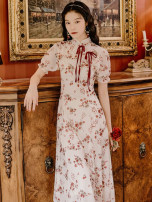 cheongsam Summer 2021 S,M,L Decor Short sleeve long cheongsam Retro No slits daily Oblique lapel Broken flowers 18-25 years old Piping 51% (inclusive) - 70% (inclusive)