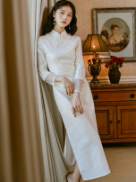 cheongsam Spring 2021 S,M,L Rice white gold Long sleeves long cheongsam Retro High slit daily Oblique lapel Solid color 18-25 years old Piping 51% (inclusive) - 70% (inclusive)