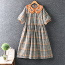 Dress Summer 2021 Color one, color two, color three Average size longuette Short sleeve Doll Collar lattice Socket routine cotton