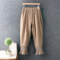 Casual pants Black, off white, coffee, light brown Average size Ninth pants Natural waist routine 96% and above hemp cotton Asymmetry