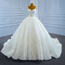 Wedding dress Summer 2021 white Customized [contact customer service] (no return, no change) Korean version Long tail Bandage Hotel Interior other Netting Three dimensional cutting High waist 18-25 years old Sequins Sleeveless shawl Realsmile Large size Netting 96% and above