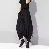 Casual pants black M,L,XL Summer of 2019 Ninth pants loose  Natural waist street Thin money 25-29 years old 81% (inclusive) - 90% (inclusive) MZJL other fold Tencel Punk Asymmetry