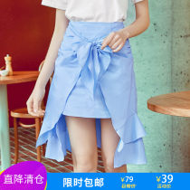 skirt Summer of 2018 XS S M L XL blue Middle-skirt street High waist A-line skirt Solid color Type A MG82589 More than 95% Mg elephant cotton Europe and America