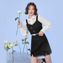 Fashion suit Spring 2021 XS,S,M,L,XL Shirt - white, vest - black, skirt - black Mg elephant MA128424 81% (inclusive) - 90% (inclusive) Viscose