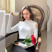 T-shirt Black, gray, white XS,S,M,L,XL Spring 2021 Long sleeves Crew neck Self cultivation Regular routine street cotton 86% (inclusive) -95% (inclusive) other Solid color Mg elephant MZ034513 Europe and America