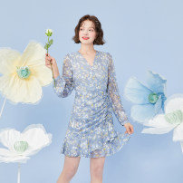 Dress Spring 2021 camisole - Blue print , Dress - Blue print XS,S,M,L,XL Middle-skirt singleton  Long sleeves street V-neck High waist Broken flowers Socket A-line skirt puff sleeve Type A Mg elephant MA129414 More than 95% polyester fiber Europe and America