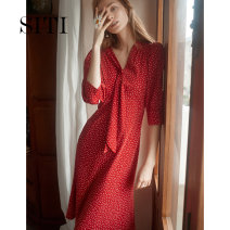 Dress Summer of 2019 Red quarter sleeve (spot) red quarter sleeve (pre sold for 15 days) S/155 M/160 L/165 XL/170 longuette singleton  three quarter sleeve commute V-neck High waist Socket routine Others 25-29 years old Type H Siti Selected Simplicity 19AD215 More than 95% polyester fiber